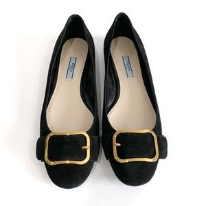 Prada Authentic Suede Flats Gold Buckles Size 8.5